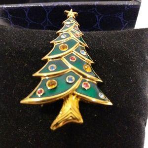 Swarovski Christmas Tree Pin Brooch Rhinestones